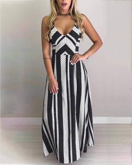 255fe88c1c6 Dot   Striped Lace-Up Back Maxi Dress ...