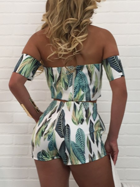 Leaf Print Off Shoulder Crop Top & Shorts Set