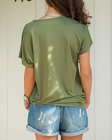 Solid Crisscross One Shoulder T-Shirt