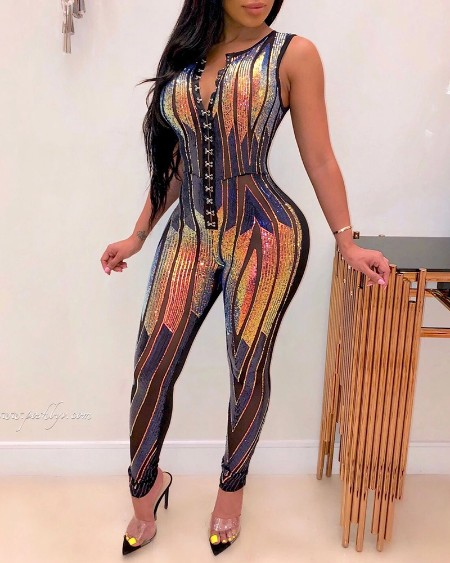 boutiquefeel / Glitter Sleeveless Sequins Jumpsuit