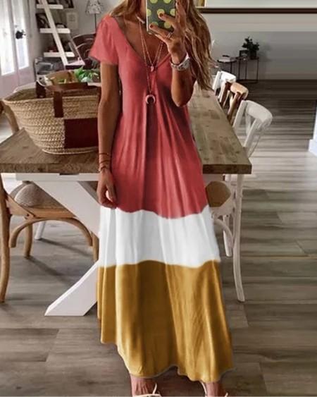 boutiquefeel / V-Neck Short Sleeve Colorblock Maxi Dress