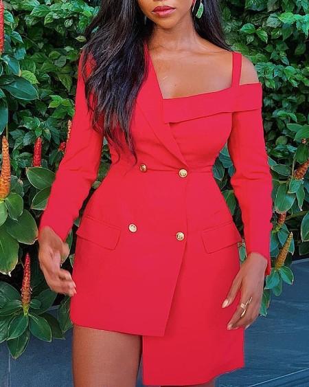 Cold Shoulder Double Breasted Blazer Dress