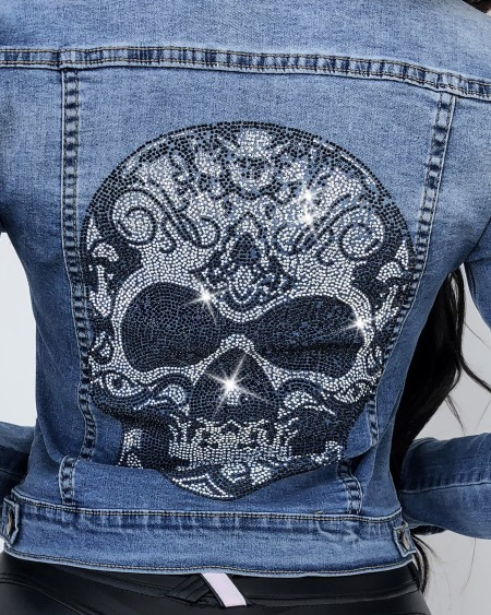 Skull Pattern Studded Button Design Denim Coat