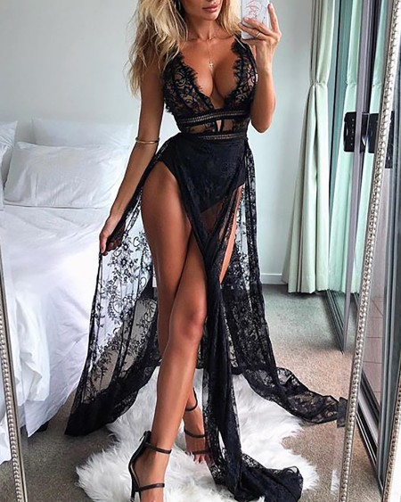 See Through Eyelash Lace High Slit Maxi Dress