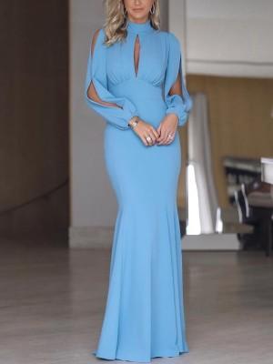 Elegant Split Sleeve Cutout Front Fishtail Dress