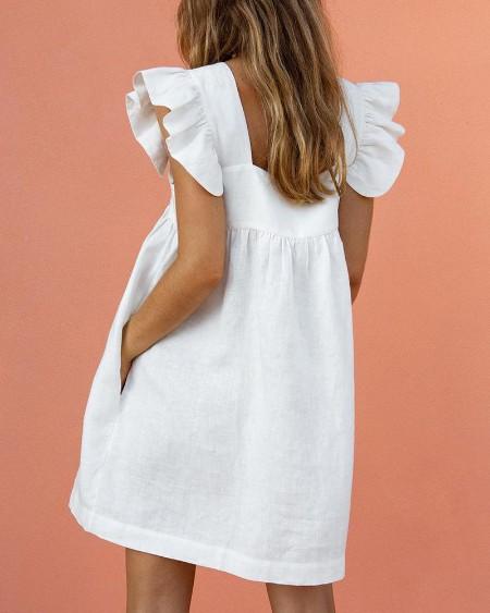 Square Neck Ruffle Sleeve Dress
