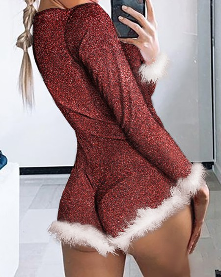 Feather Detail Long Sleeve Bodysuit