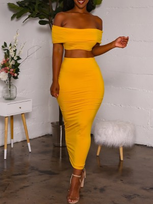 Solid Off Shoulder Top With Maxi Skirt Sets