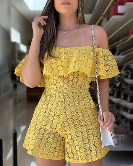 Off Shoulder Eyelet Embroidery Ruffles Romper