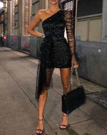 Glitter One Shoulder Sheer Mesh Ruched Party Dress