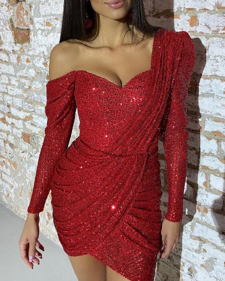 Sequined One Shoulder Ruched Dress