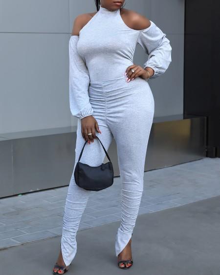 Plus Size Cold Shoulder Fold Slit Jumpsuit