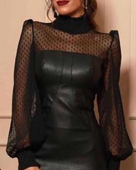Faux Leather Mesh Dot Midi Dress