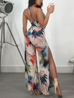 Tropical Print Halter Side Split Flared Jumpsuit