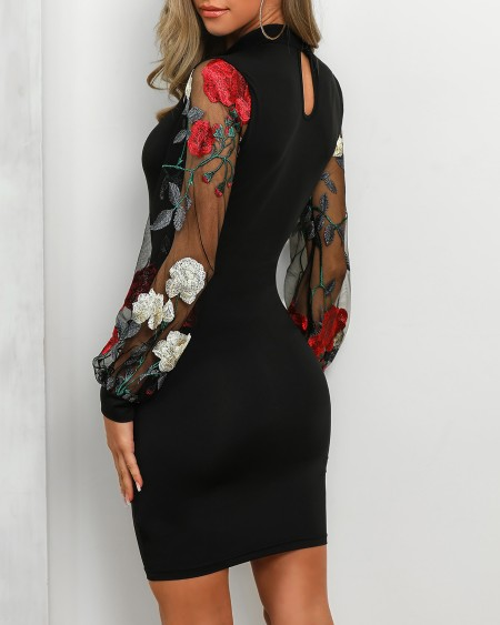 Sheer Mesh Floral Embroidery Sleeve Bodycon Dress