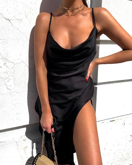 boutiquefeel / Solid Slit Cowl Neck Cami Dress