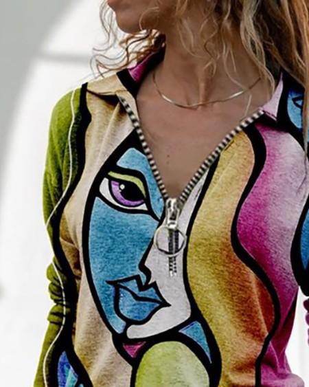 Abstract Print Zipper Design Top