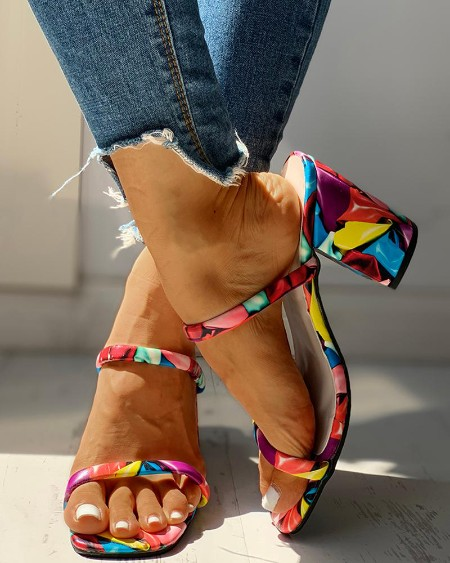 boutiquefeel / Colorful Open Toe Chunky Heeled Sandals