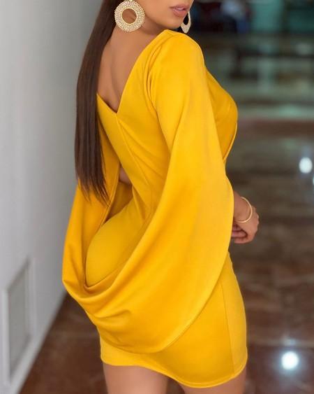 Plain Cloak Design Ruched Bodycon Dress