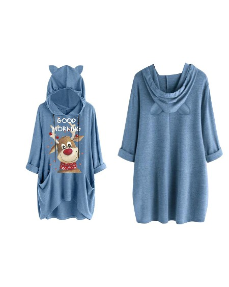 boutiquefeel / Christmas Letter Moose Print Hooded Top