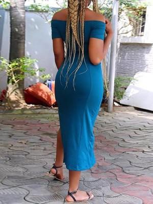 Solid Off Shoulder High Slit Midi Dress