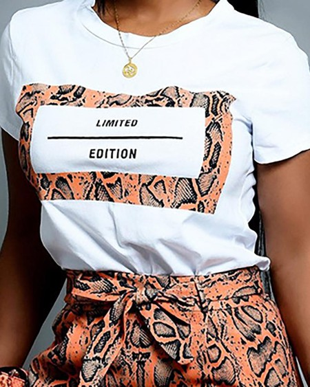 Letter Short Sleeve Tee With Snakeskin Shorts Sets