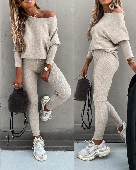 Long Sleeve Top & High Waist Drawstring Pants Set