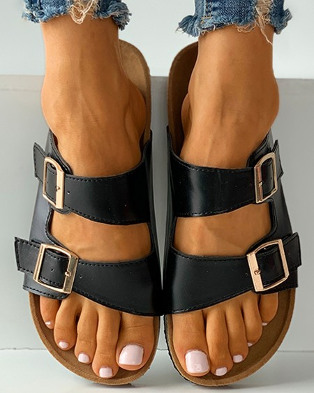 Buckled Open Toe Footbed Sandals