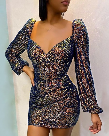Glitter Puffed Sleeve Sequins Dress