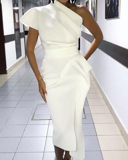 One Shoulder Ruched Slit Irregular Dress