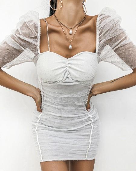 Sheer Mesh Glitter Bodycon Dress