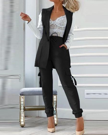 Plain Blazer Coat & Drawstring Pants Set