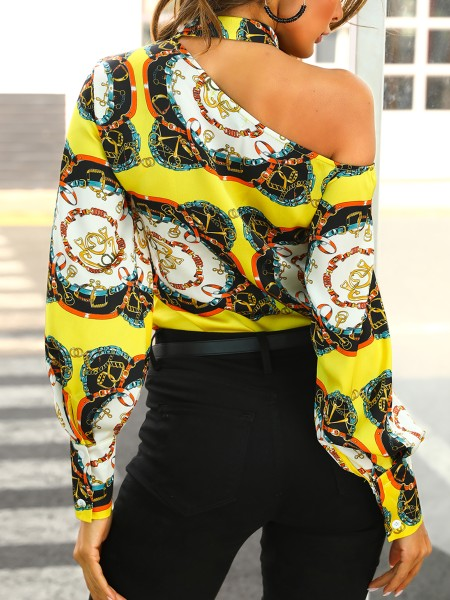One Shoulder Chain Print Blouse