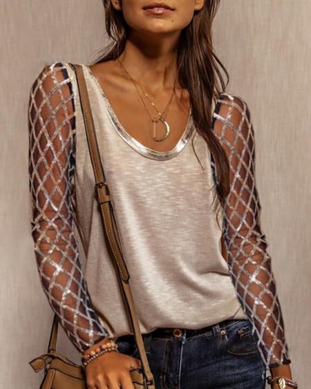 Sequins Long Sleeve T-shirt