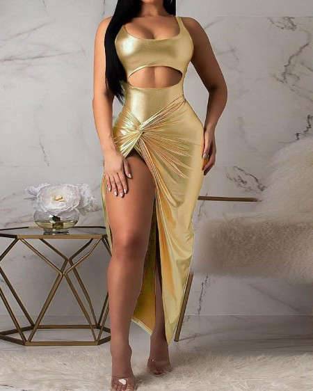 U-Neck Cutout Front Bodysuit & Skirt Sets