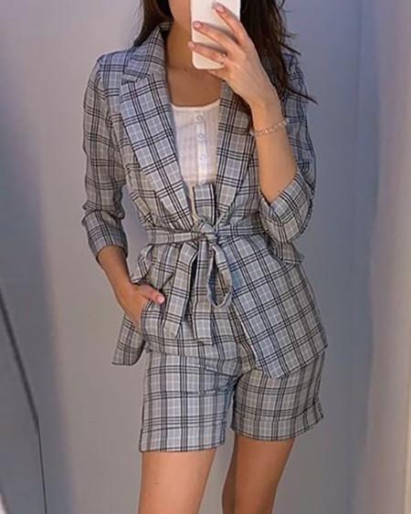 Grid Long Sleeve Blazer Coat & Slinky Short Sets