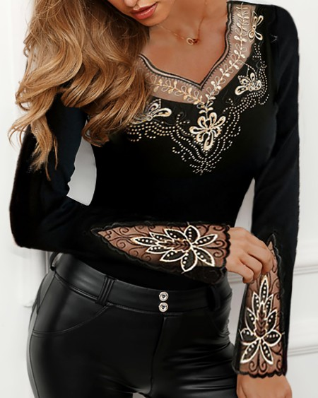 Sheer Mesh Flower Studded Design Blouse