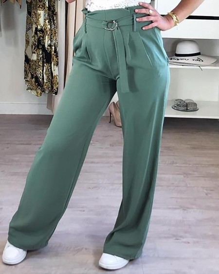 High Waist Belted Bell-Bottom Pants