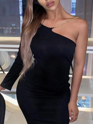 Chains Embellished One Sleeve Party Dress