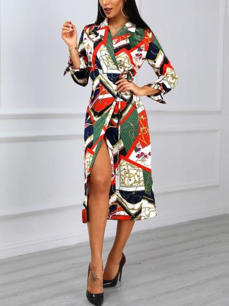 Mixed Print Long Sleeve Shirt Dress