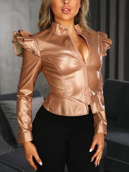 PU Zipper Up Ruffles Design Jacket