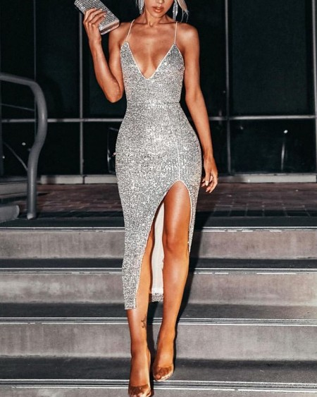 Spaghetti Strap Sequin Slit Bodycon Dress