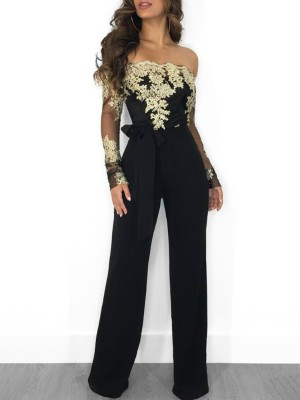 86e5ca4a1fc Flower Embroidery Off Shoulder Wide Leg Jumpsuit ...