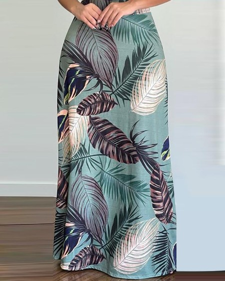Cami Crop Top & Tropical Print Maxi Skirt Sets