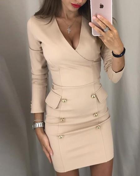 Button Design V-Neck Wrap Bodycon Dress