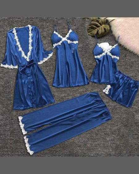 Eyelash Lace Cami & Robe 5PCS Set