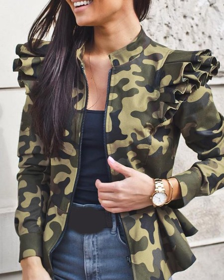 Camouflage Print Ruffles Long Sleeve Jacket
