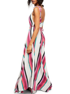 Fashion V Neck Digital Print Maxi Dress