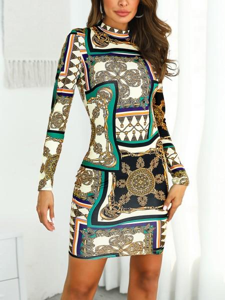Print Insert Long Sleeve Bodycon Dress