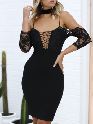 Sexy Crochet Lace-up Bodycon Plunge Dress